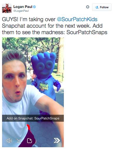 snapchat image from logan paul